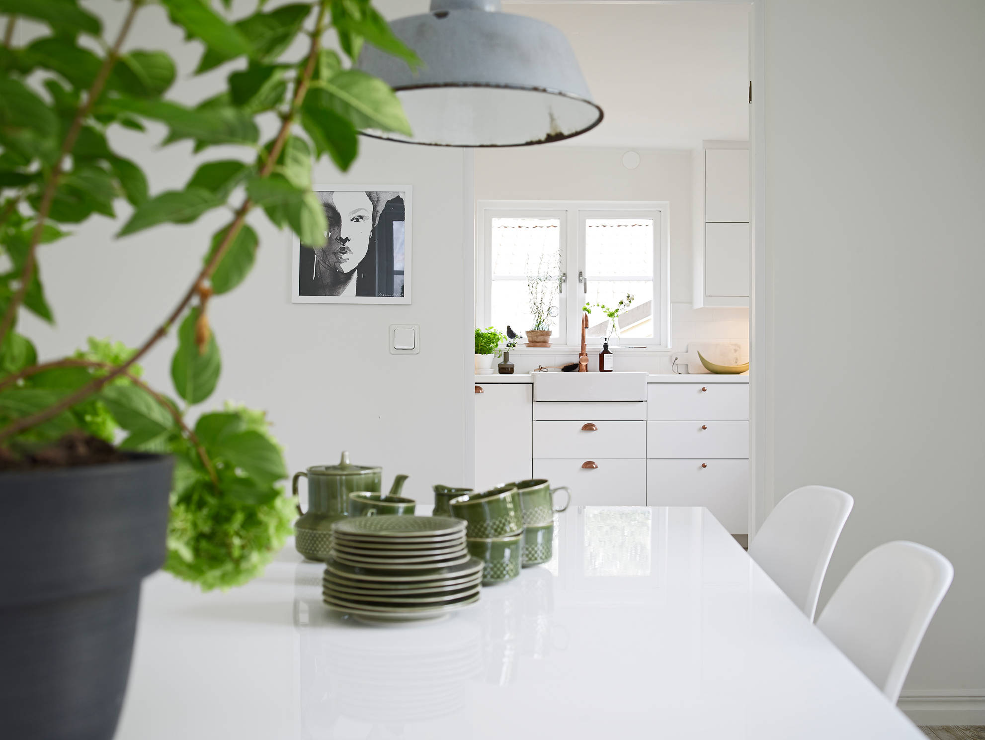 white apartment greens dining room table