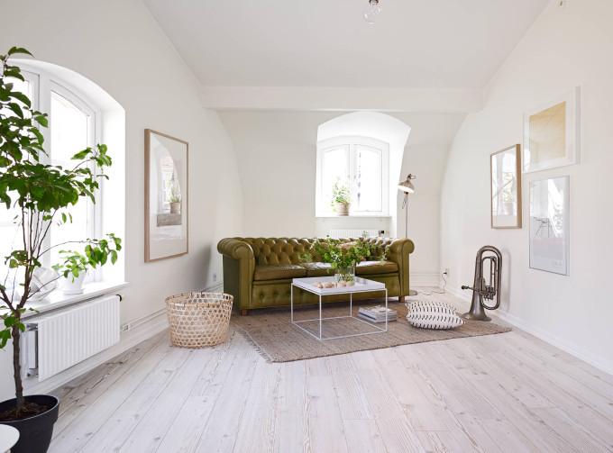 white apartment greens sofa