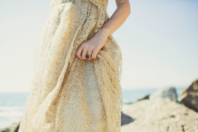 bridal shower seaside ocean beach gold wedding dress 2
