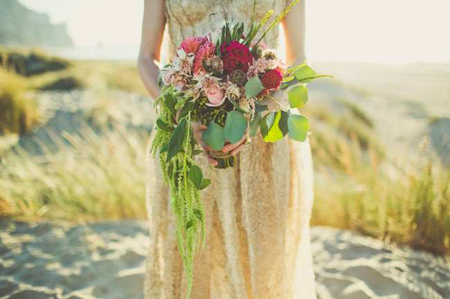 bridal shower seaside ocean beach gold wedding dress bouquet 2