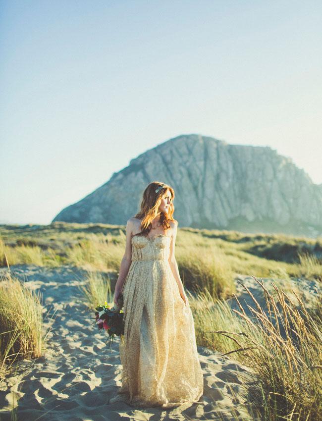 bridal shower seaside ocean beach gold wedding dress bouquet