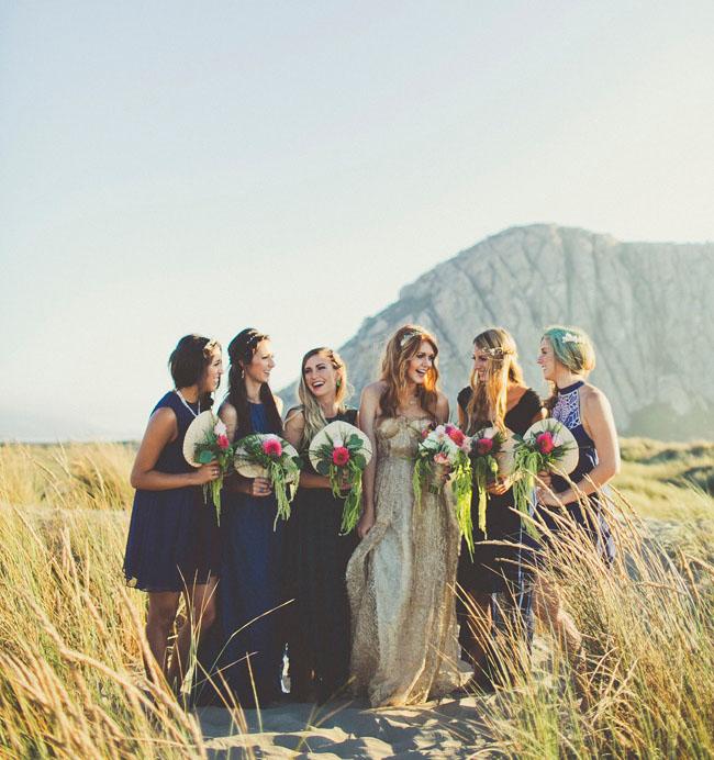 bridal shower seaside ocean beach gold wedding dress