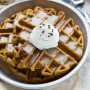 Cinnamon Pumpkin Waffles with Caramel Syrup
