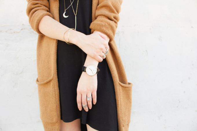 weekend little love notes cardigan black dress jewelry