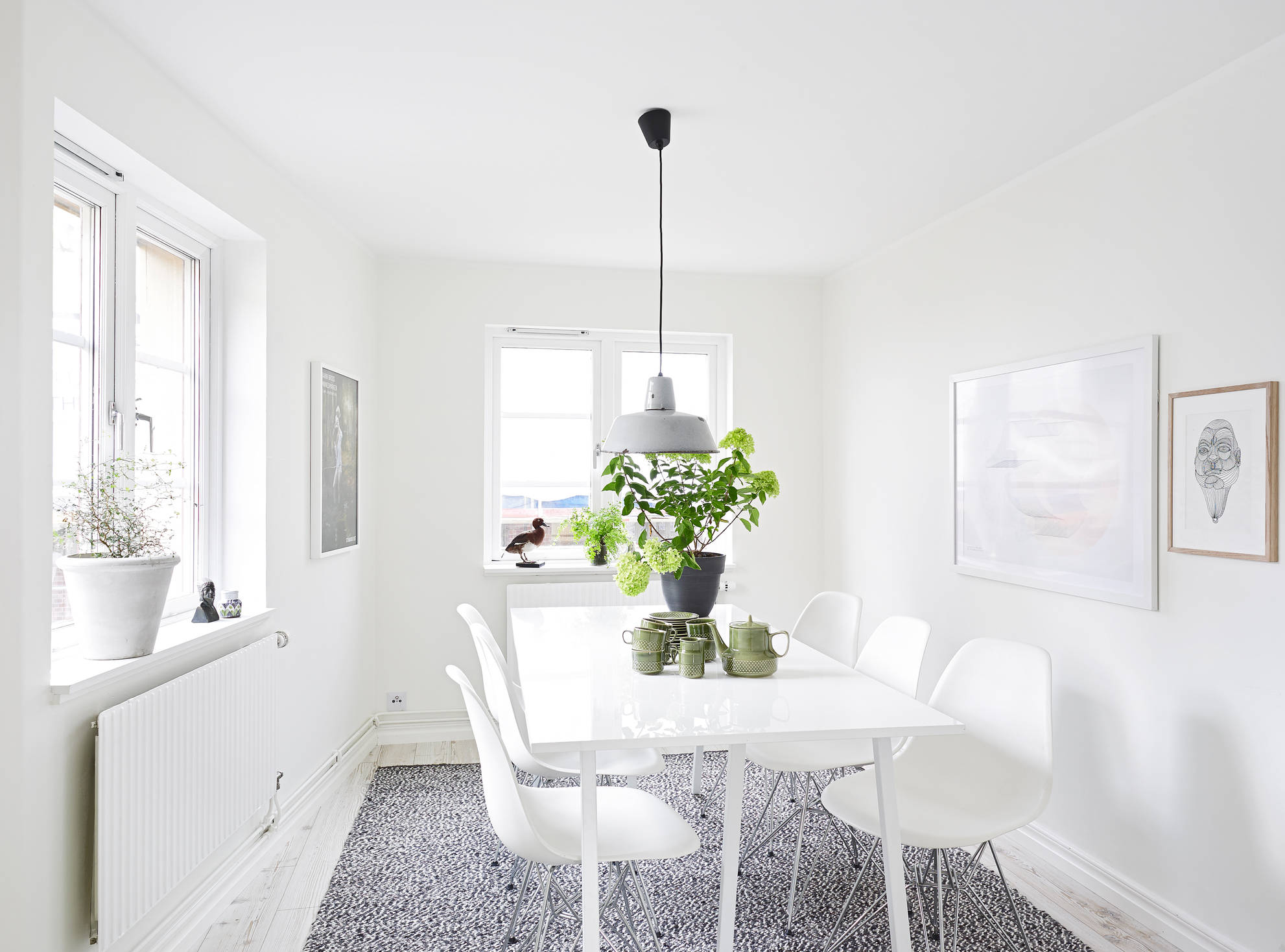white apartment greens dining room