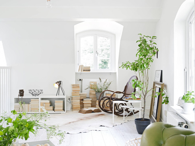 white apartment greens rocking chair
