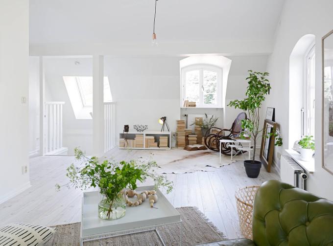 white apartment greens sofa rustic