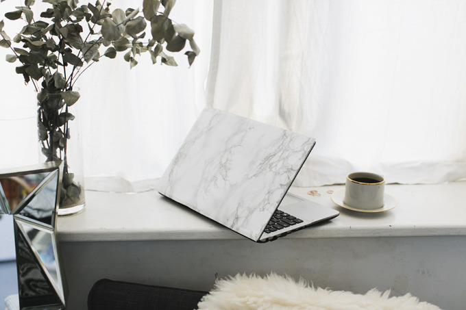 shopping marble laptop coffee window