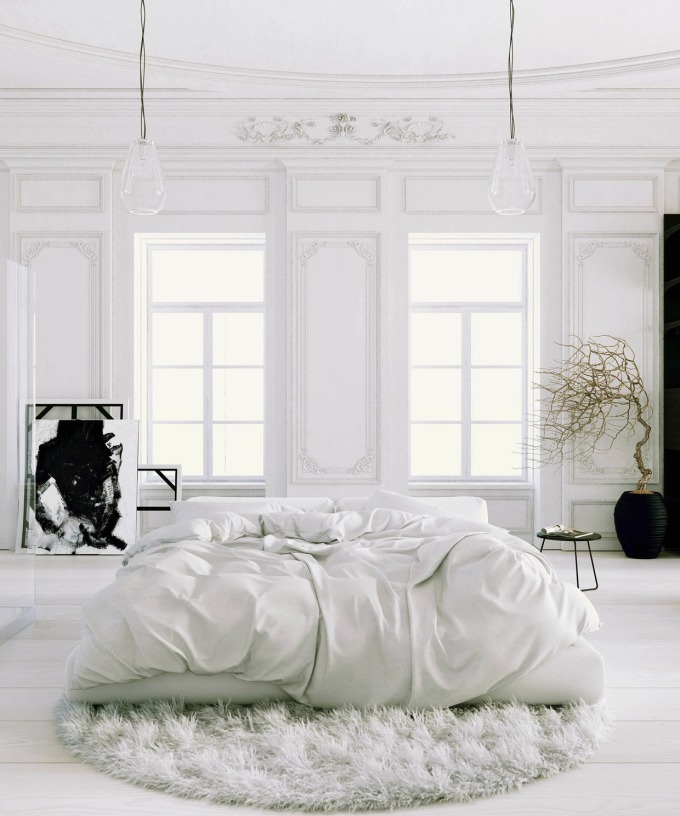 Parisian-Apartment-soft-white-bedroom-with-black-accents-and-potted-tree-rug