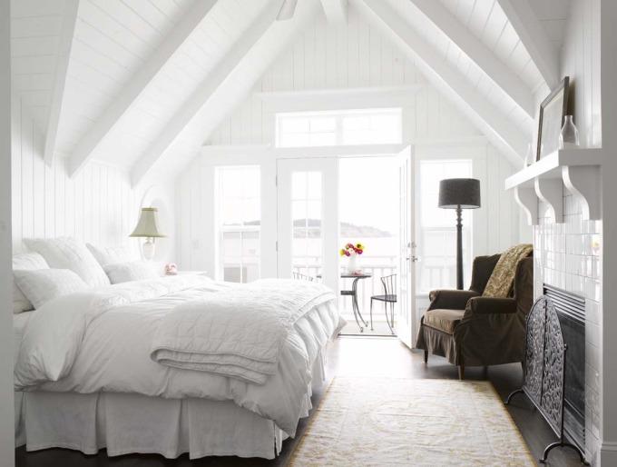 alex hayden white bedroom attic a frame eaves fireplace