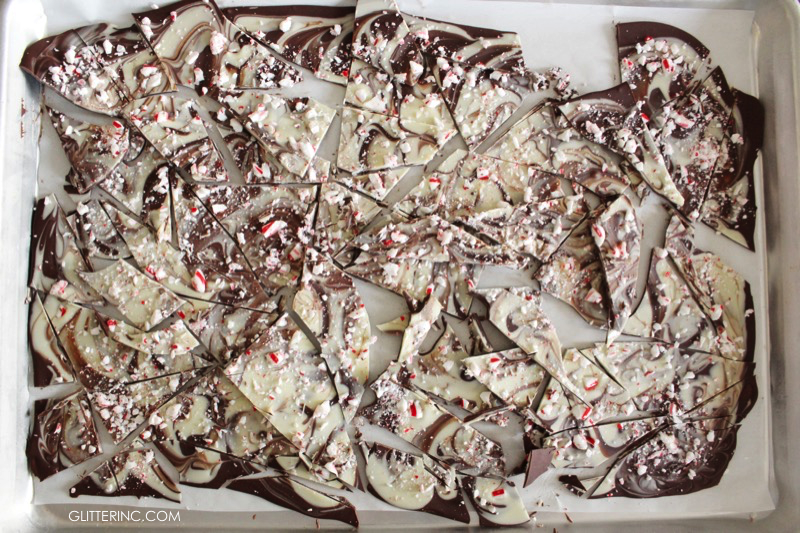 marbled candy cane peppermint chocolate bark - glitterinc.com