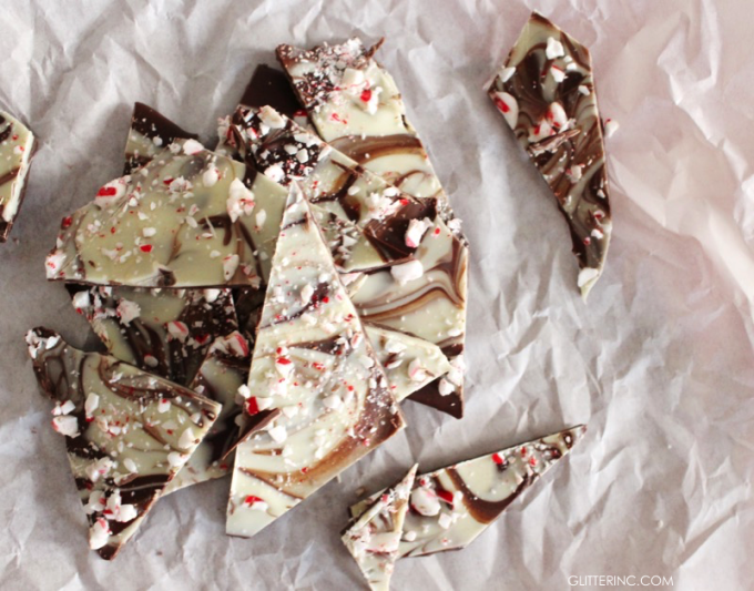 marbled peppermint chocolate bark - glitterinc.com