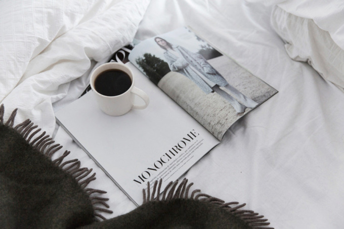 monochrome magazine coffee bed