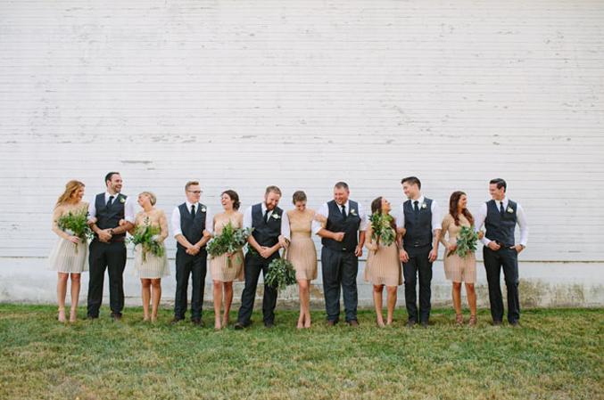 Navy and Tan Bridesmaid Dresses
