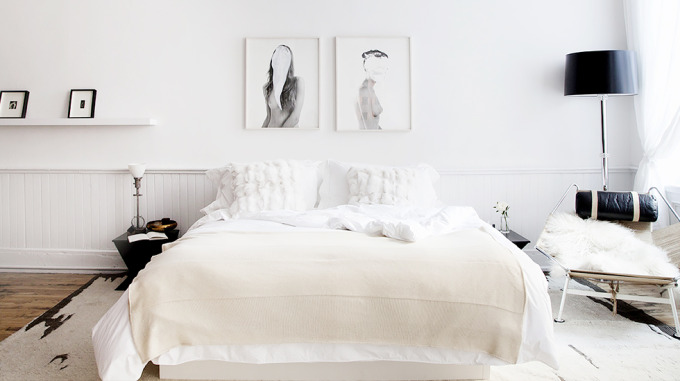 white bedroom via the line