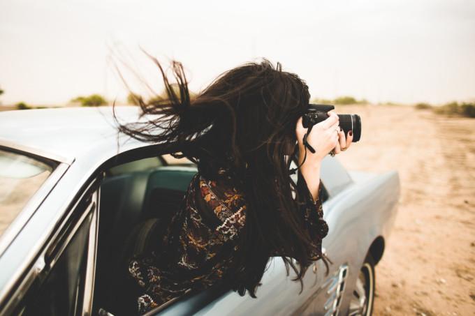 car travel wind camera hair