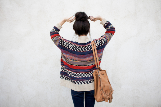 fair isle sweater fringe bucket bag bun
