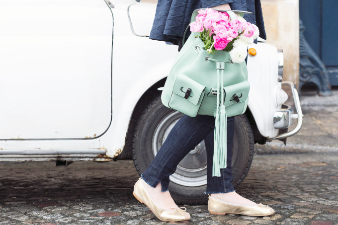 mint backpack peonies travel