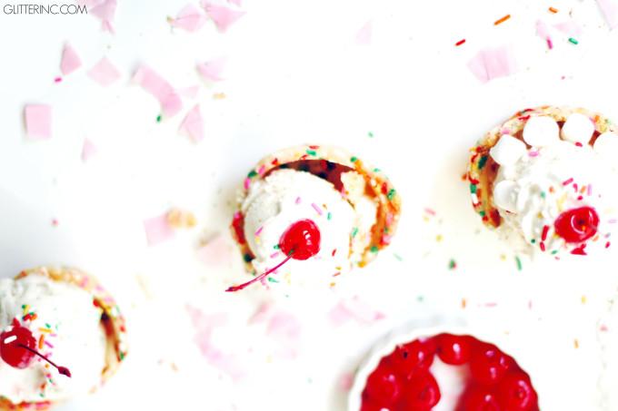 ice cream into each confetti cookie cup set up your ice cream sundae ...