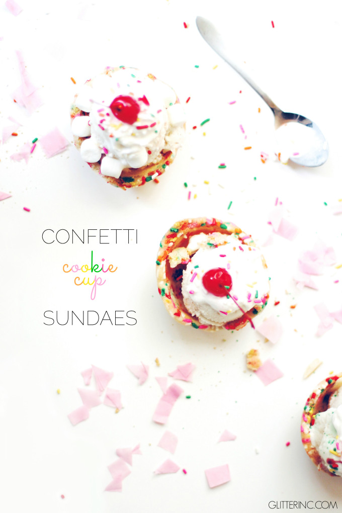 How to make the sweetest confetti cookie cup ice cream sundaes. Click through for the recipe. | glitterinc.com | @glitterinc