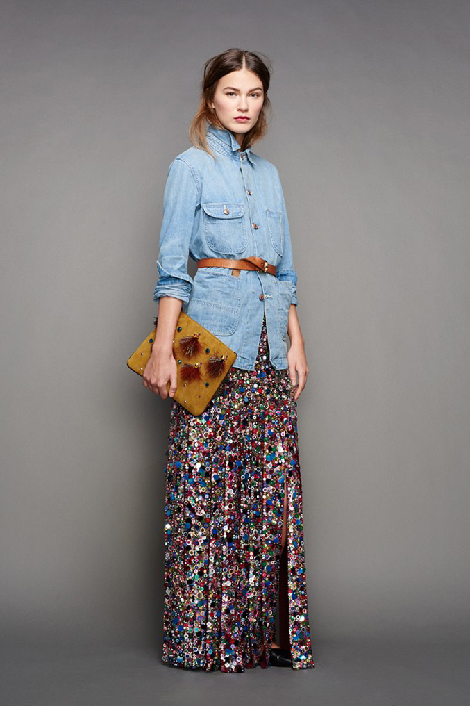 J.Crew-Fall-Winter-2015-Sequin-Skirt-Chambray-Shirt