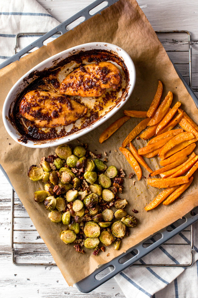 Maple-and-Mustard-Glazed-Chicken-with-Roasted-Sweet-Potatoes-and ...