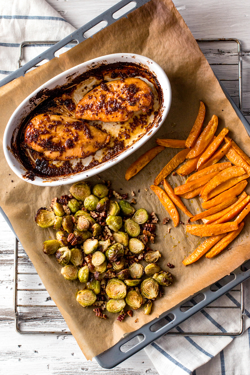 Maple-and-Mustard-Glazed-Chicken-with-Roasted-Sweet-Potatoes-and-Brussels-Sprouts-1