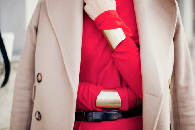 Red Dress and Camel Coat - Street Style - Valentine's Day