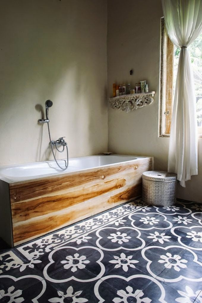 blue tile bathroom wood tub