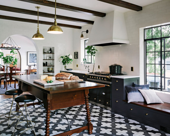 bold black white tile floors kitchen gold