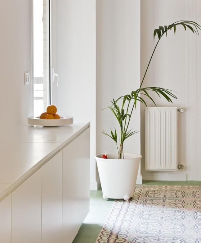 green tile house design
