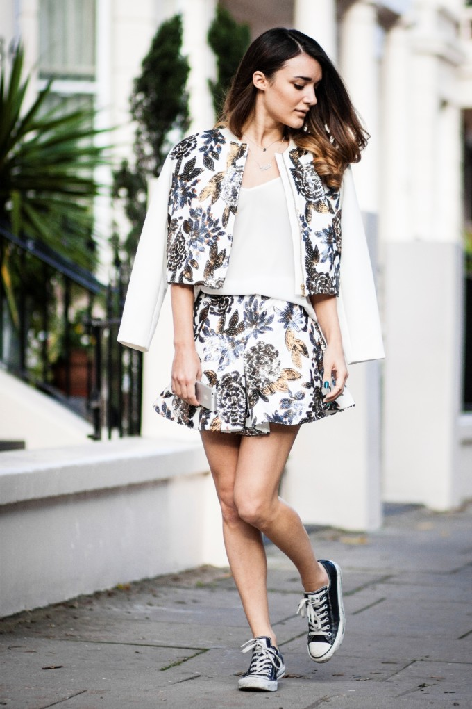 matching separates - jacket and shorts sequin
