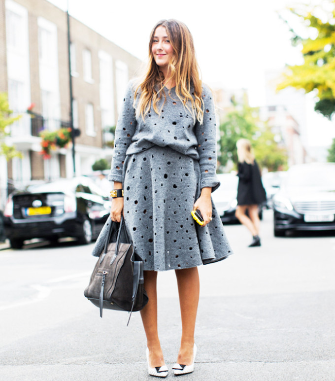 matching set - grey sweatshirt and skirt - street style