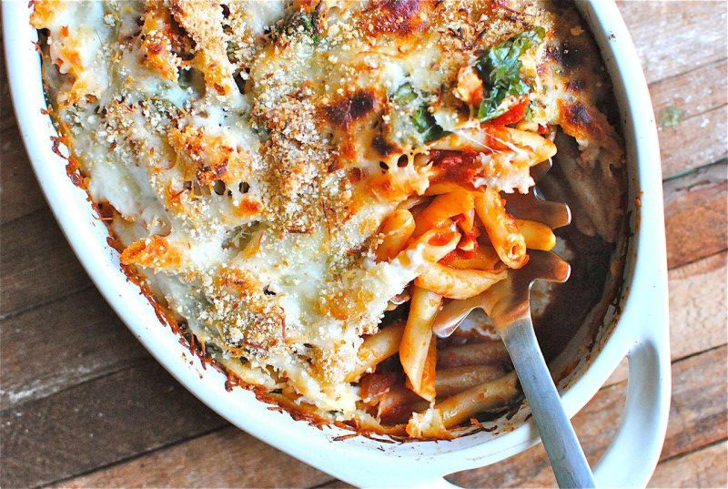 penne-bake-with-spinach-and-tomatoes