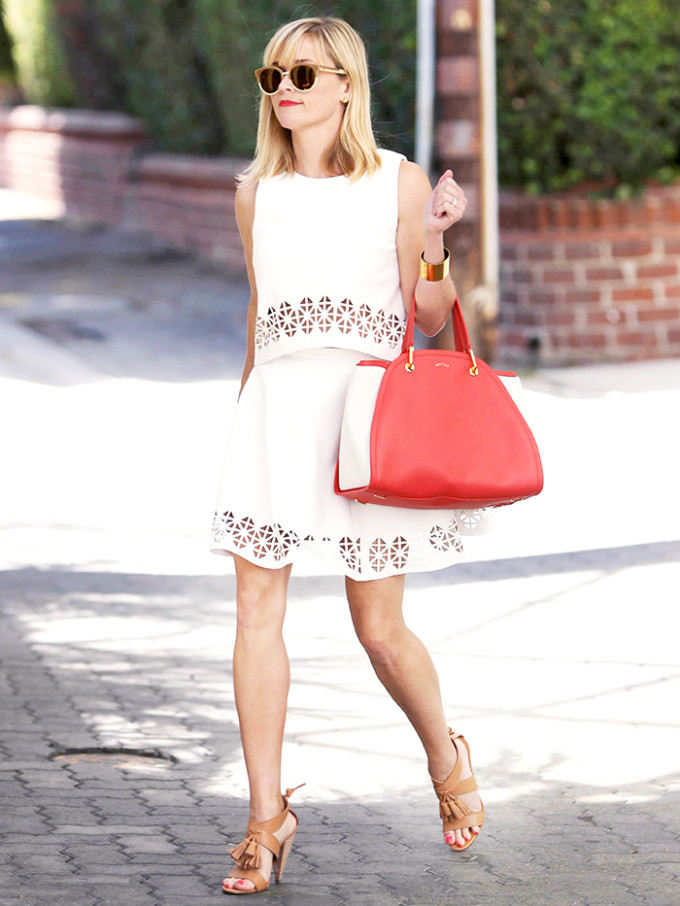 reese witherspoon - lovers friends matching set skirt