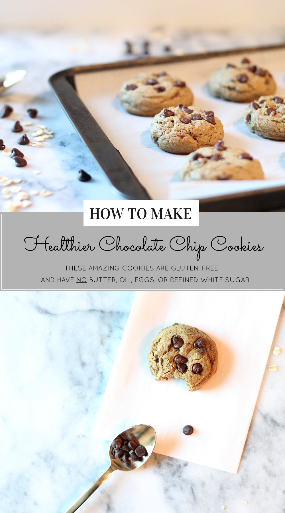 How to Make Healthier Chocolate Chip Cookies that are gluten-free and have NO butter, oil, eggs, white flour, or refined white sugar. Click through for the easy recipe. | glitterinc.com | @glitterinc