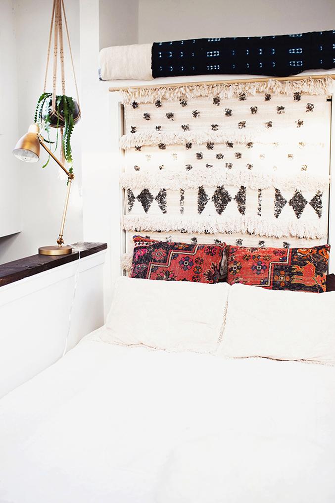 bohemian-seattle-apartment---moroccan-wedding-blanket-rug-wall-hanging-bedroom