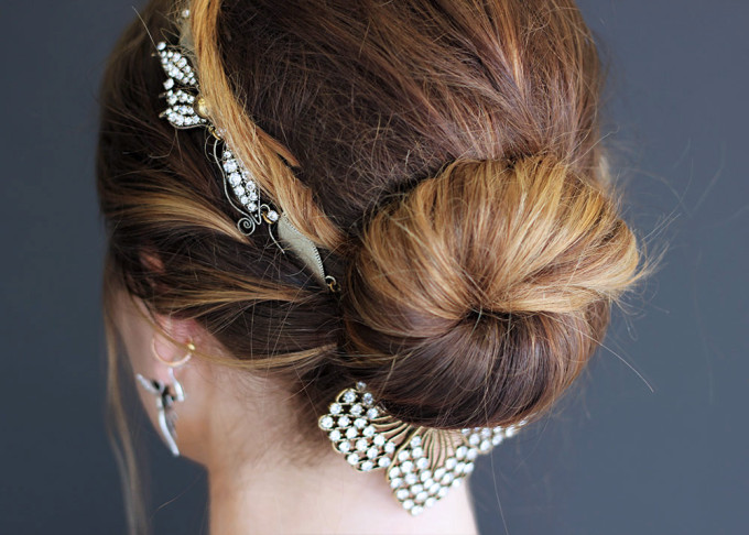 lulu frost hair jewelry bun gold updo