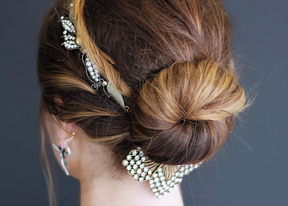 lulu frost hair jewelry bun gold updo