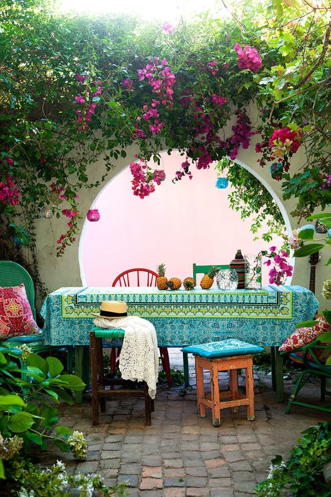 outdoor dining table - fabric colorful tablecloth pillows - mexico - deck patio