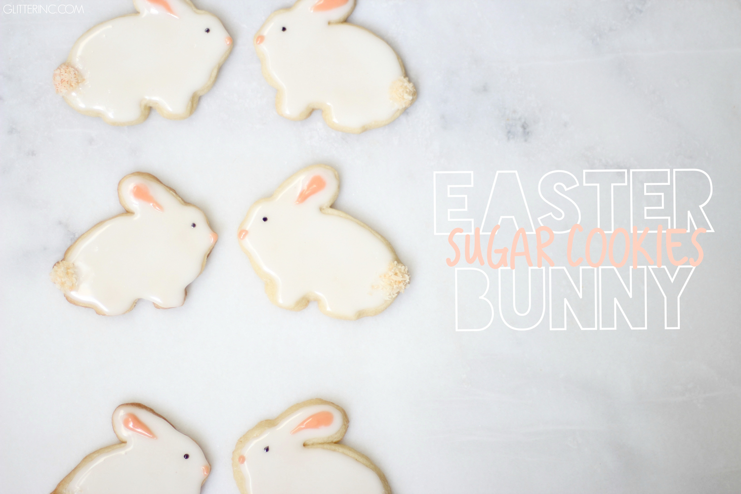 It's almost Easter! Make these delicious Easter bunny sugar cookies with our favorite sugar cookie recipe and a simple royal icing recipe you will use again and again for all of your sugar cookie decorating! | glitterinc.com | @glitterinc
