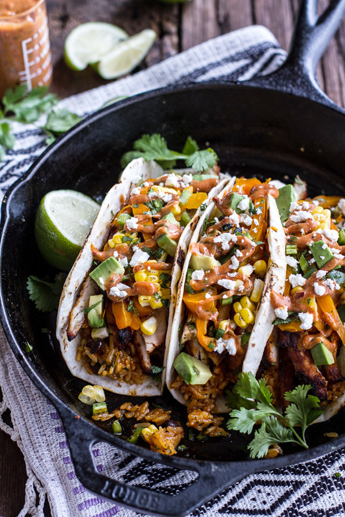 Easy-Chicken-Fajitas-with-Cheesy-Enchilada-Rice-+-Spicy-Tex-Mex-Special-Sauce.-13