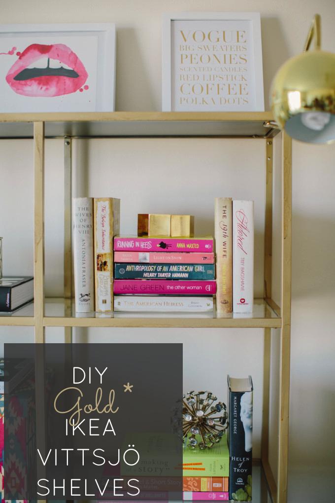 Style-Me-Pretty-Home-Tour-Behind-the-Blog-glitterinc.com-gold-diy-ikea-shelves