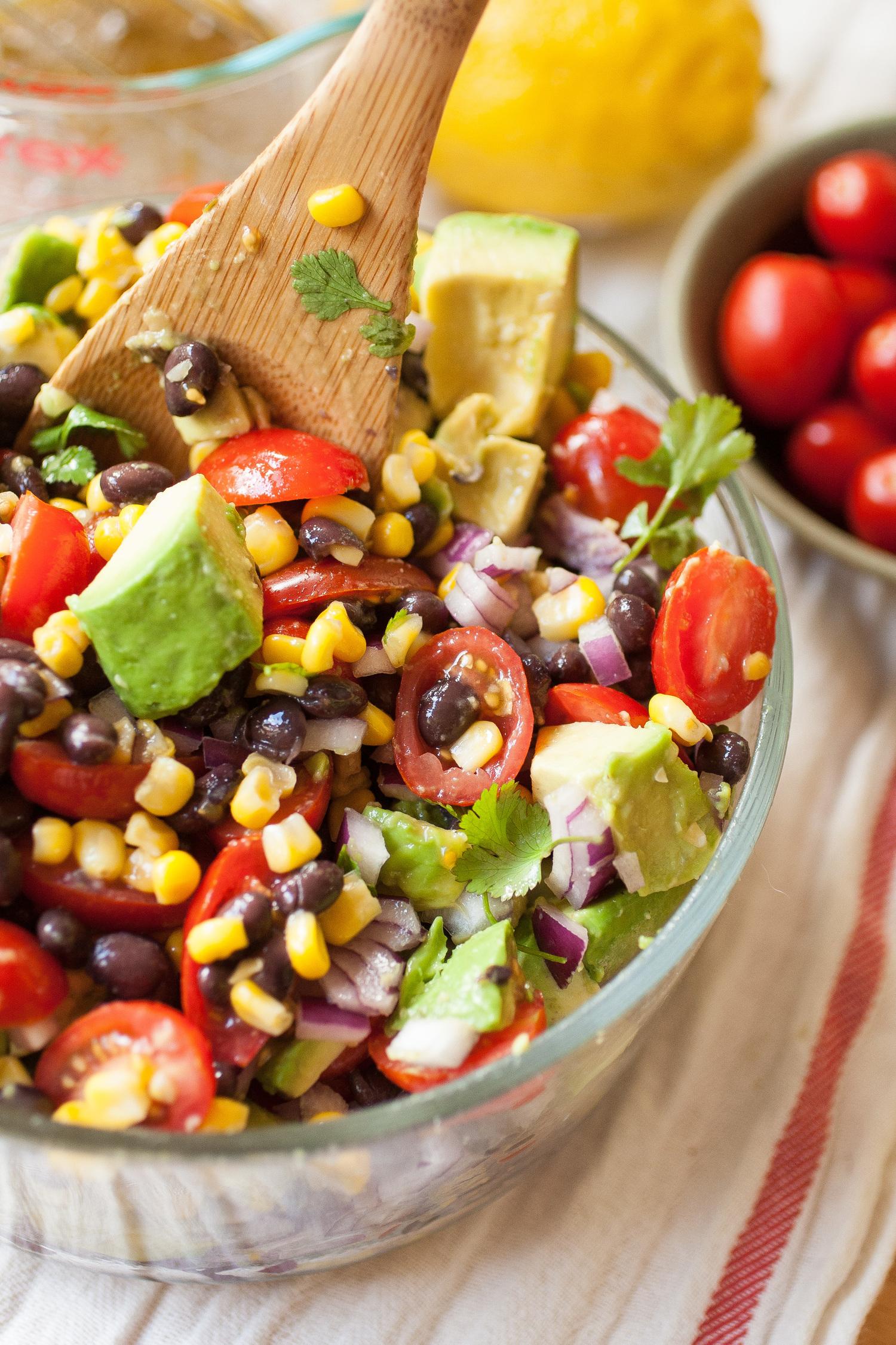 Summer Corn, Avocado & Black Bean Salad via Produce On Parade .