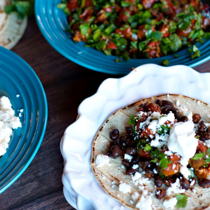 15 Favorite Vegetarian Dinner Recipes: Vegetarian Black Bean Tacos with Roasted Salsa