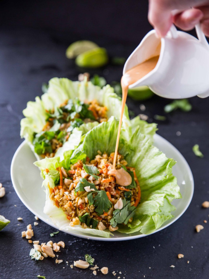 15 Favorite Vegetarian Dinner Recipes: Cauliflower Rice Lettuce Cups with Sriracha Peanut Sauce