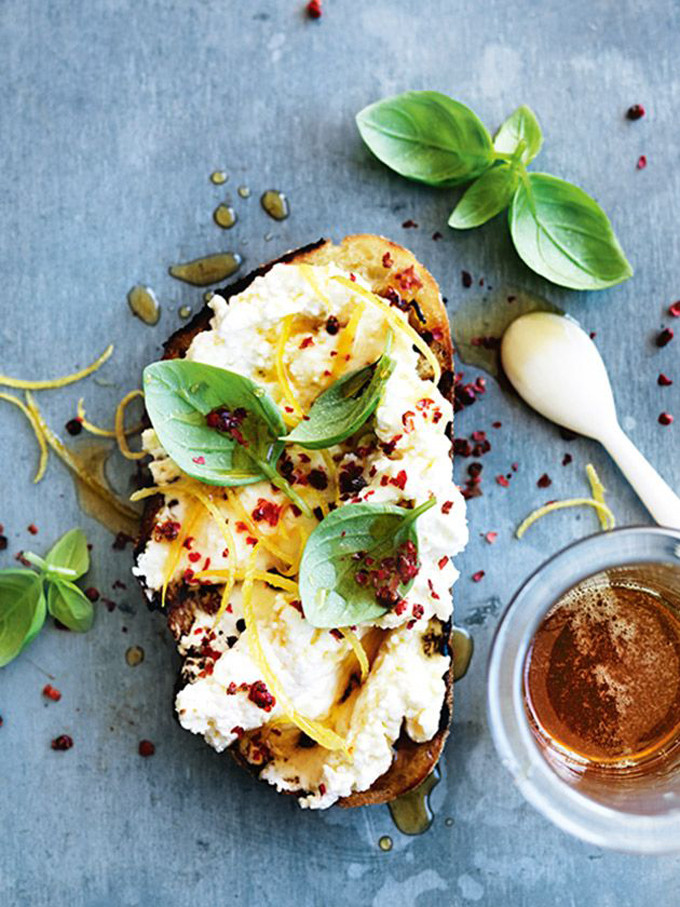 Lemon, Ricotta, Basil and Honey Bruschetta via Donna Hay .