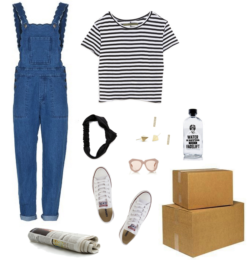 weekend edition wear outfit - scalloped overalls - moving boxes - packing converse - glitterinc.com