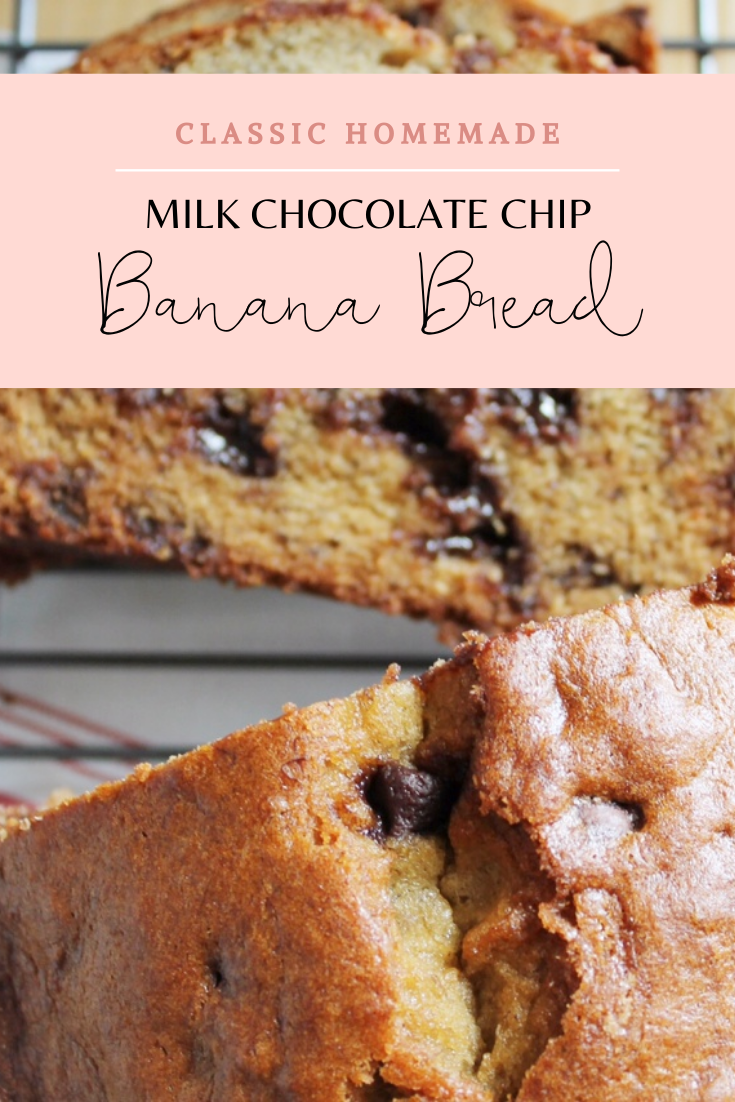 This banana bread recipe, with milk chocolate chips, is the version of banana bread I make over and over agin. It's moist, fluffy, and has a perfect crust. | glitterinc.com | @glitterinc