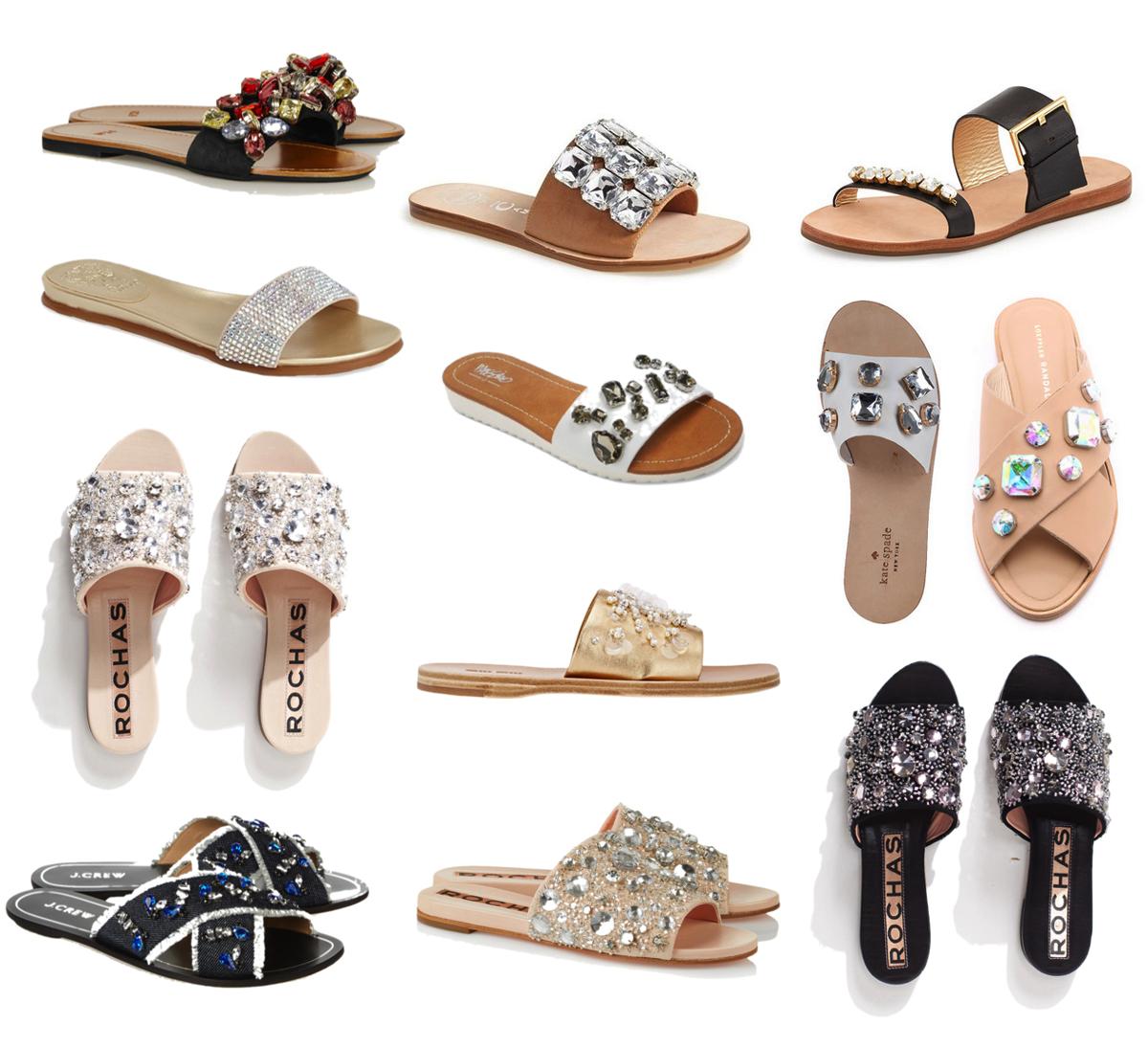 Embellished/Jeweled Slide Sandals